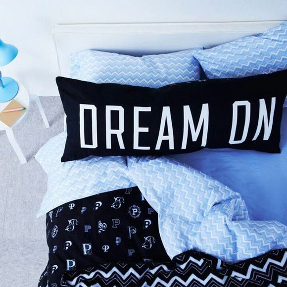pjs shirt black sleep white pillow dream dream on purple