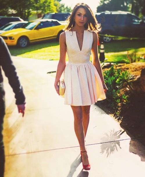 Dress: white dress, v neck dress, mini dress, clutch, red heels ...