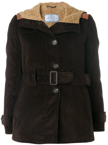 Prada jacket women cotton wool brown