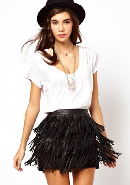 Women's Pu Faux Leather Tassels Decorated Skirt online - vessos.com