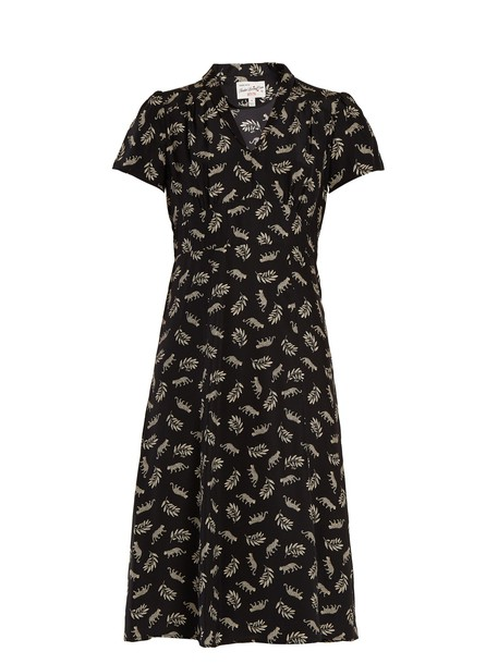hvn dress silk dress print silk white black