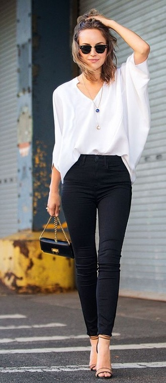top bag pants blouse shirt white shirt white blouse high waisted jeans black jeans