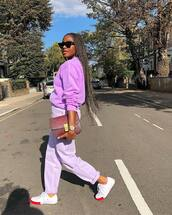 sweater,lilac,pants,sneakers,clutch,oversized sweater,black sunglasses