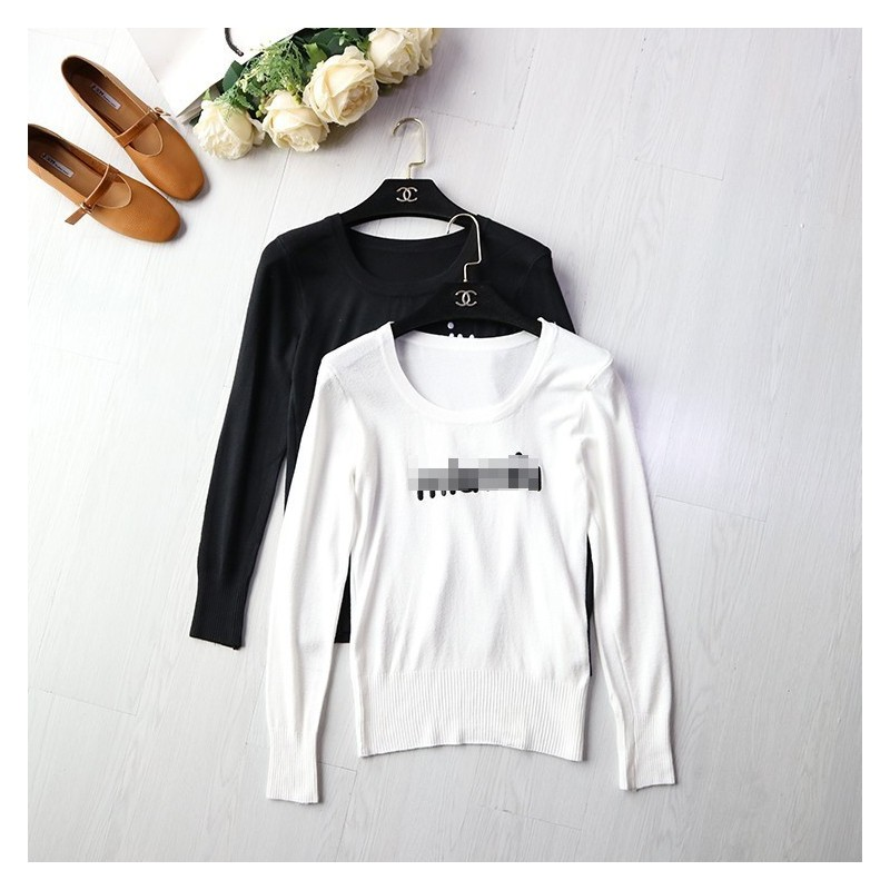 Embroidery Scoop Neck Long Sleeves Alphabet Top Knitted Sweater - Discount Fashion in beenono