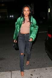 jacket,karrueche,celebrity,puffer jacket,green jacket,green,jeans