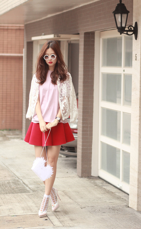 mellow mayo sunglasses t-shirt skirt bag shoes sweater
