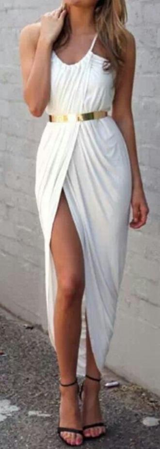 dress white dress asymmetrical dress cute dress style gold belt belt