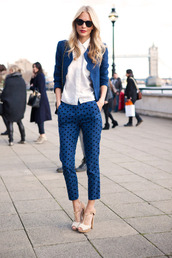 pants,blue pants,polka dots,shirt,white shirt,blazer,blue blazer,sandals,white sandals,sunglasses,office outfits,spring outfits,polka dot pants