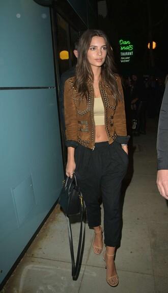 crop tops suede suede jacket sandals emily ratajkowski purse spring outfits