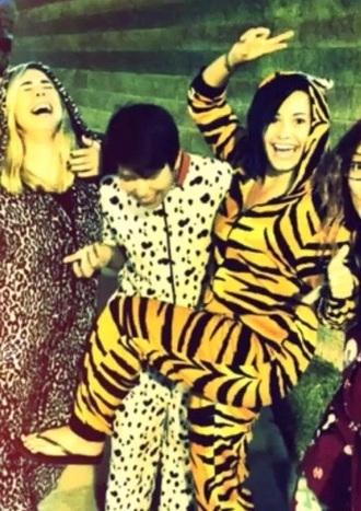 pajamas onesie tiger print gir