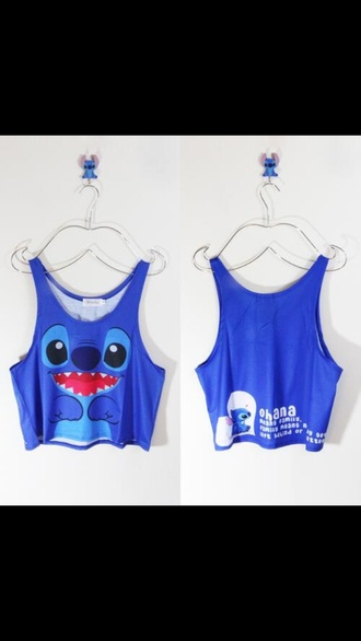 tank top blue stitch lilo&stitch cute fashion summer top disney ohana cropped lilo and stitch blue shirt tanktop. t-shirt shorts blouse style cute top crop tops shirt