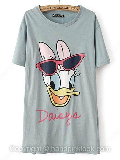 Green Round Neck Short Sleeve Daisy Print T-Shirt - HandpickLook.com