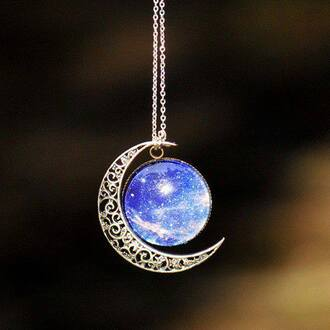 jewels necklace crescent moon galaxy print blue silver