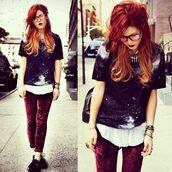 t-shirt,galaxy print,velvet,red,space,burgundy,indie,pants