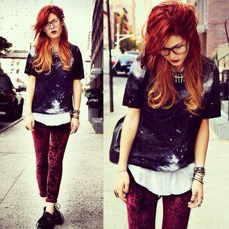 t-shirt galaxy print velvet red space burgundy indie pants