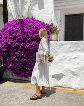 dress,white dress,long dress,maxi dress,slide shoes,bag