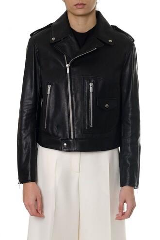 jacket biker jacket leather black black leather