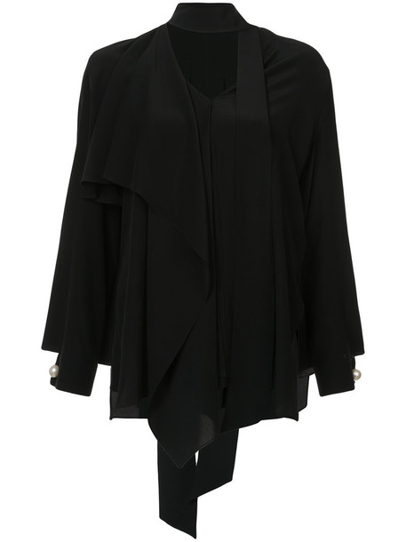 blouse women plastic layered black silk top