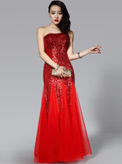 dress,clubwear,bqueen,fashion,girl,red,sexy,chic,party,sequins,mesh,one-shoulder,floor,evening dress,swing