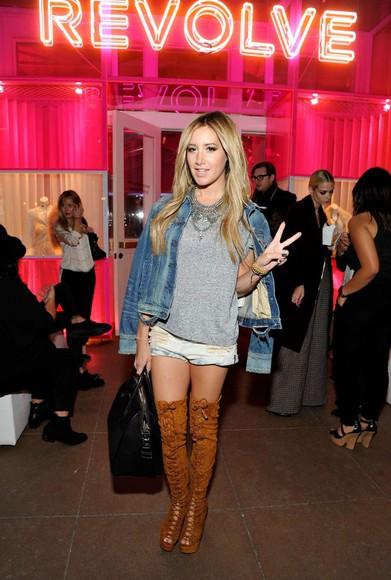 ashley tisdale top jacket bag boots shorts
