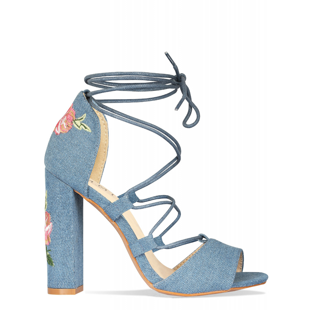 Reina Denim Floral Lace Up Heels : Simmi Shoes