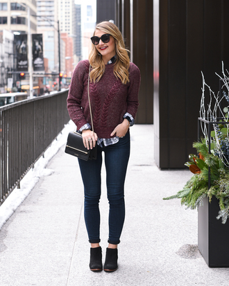 visions of vogue blogger sweater jeans shoes sunglasses bag fall outfits skinny jeans burgundy sweater booties