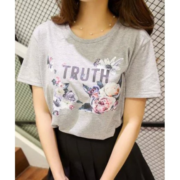 T shirt grey floral cute trendy hot casual rose for T shirt tags wholesale