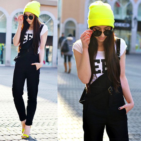 pants rebekah t-shirt geek dungarees beanie neon sunglasses flirting with fashion hat