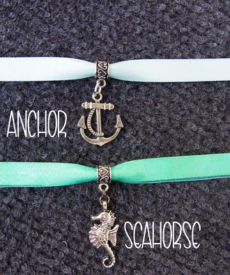 jewels bubblegum graffiti nautical beach ocean water seahorse anchor anchor and rope charm ribbon choker lolita down by the sea beach jewelry boho bohemian pretty girly choker necklace necklace jewelry accessories