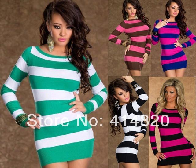 Free shipping 2014 New Fashion Women Elegant Colorful Striped Long Sleeve Casual Dress Bodycon Bandage Dress | Amazing Shoes UK