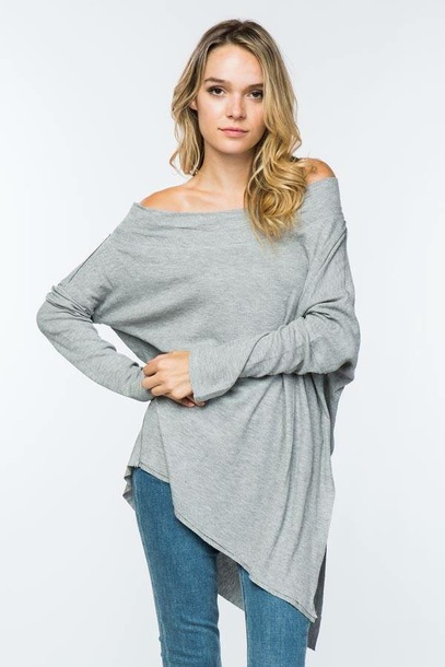 top coverstitched tunic off the shoulder