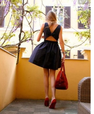 dress cut-out dress black skater dress