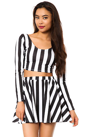 MKL Collective Skirt Knit Skater in Stripes Black and White -  Karmaloop.com