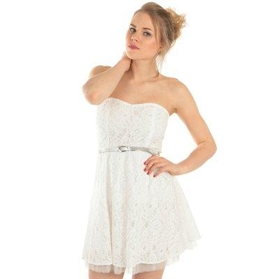 robe bustier en dentelle ecrue collection robes courtes With robe blanche pimkie