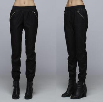 pants zip black trendyish joggers leather jacket