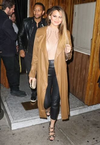 top nude chrissy teigen coat camel coat pants sandal heels sandals spring outfits bodysuit