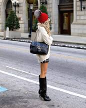 shoes,boots,high heels boots,black boots,knee high boots,mini skirt,plaid skirt,sweater,turtleneck sweater,oversized sweater,shoulder bag