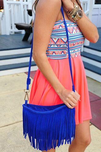 dress bag brasletes strapless dress sleeveless dress aztec aztec dress coral dress summer dress