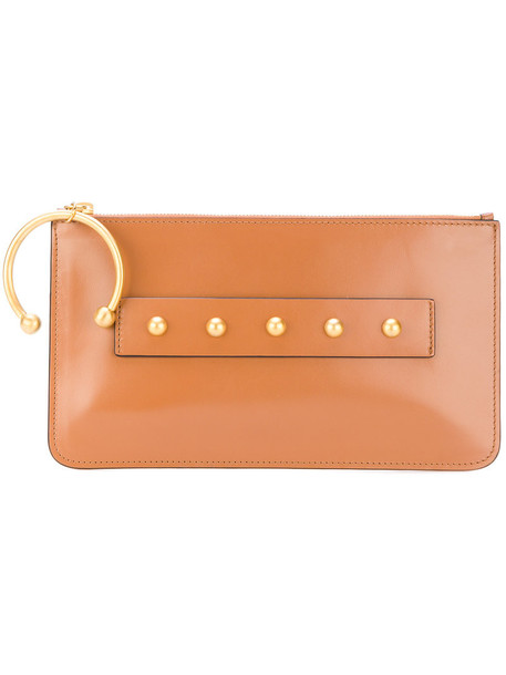studded women clutch leather brown bag