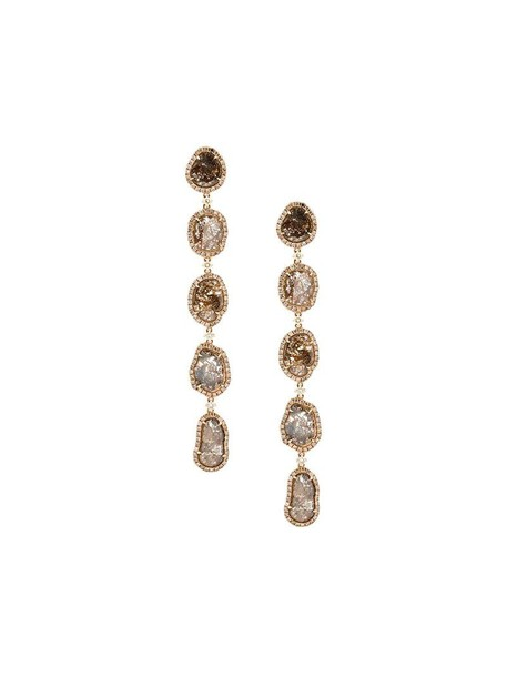 Saqqara long rose gold rose women earrings gold grey metallic jewels