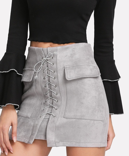 skirt girly grey suede suede skirt lace up lace skirt