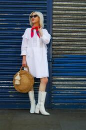 stella's wardrobe,blogger,scarf,sunglasses,dress,shoes,bag,t-shirt,pants,straw bag,round bag,boots,white dress