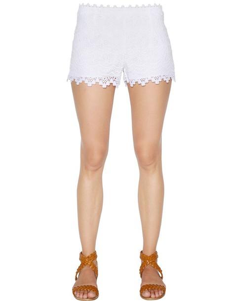 CHARO RUIZ shorts lace shorts scalloped lace cotton white