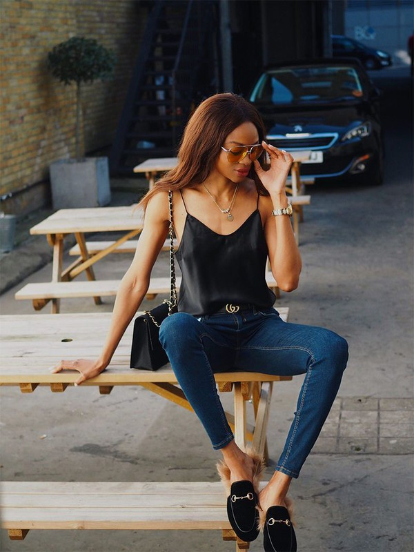 b998c1317 top tumblr camisole black top spaghetti strap jeans denim blue jeans skinny  jeans shorts shoes black