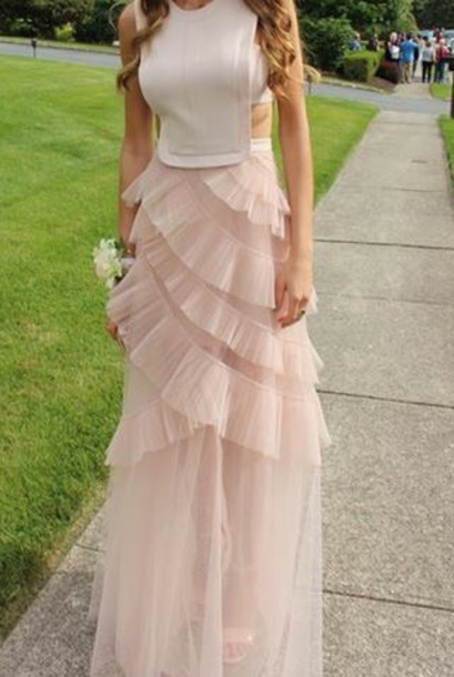 dress pink flowy gown