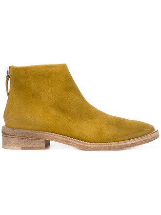 zip women boots ankle boots leather suede green shoes