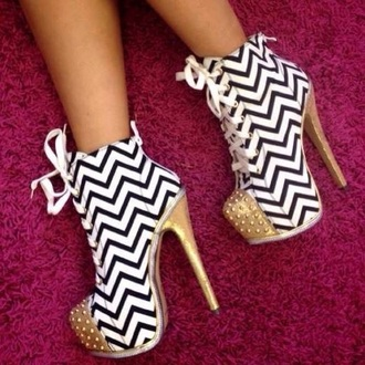 shoes white and black zigzag print gold heel chunky boots