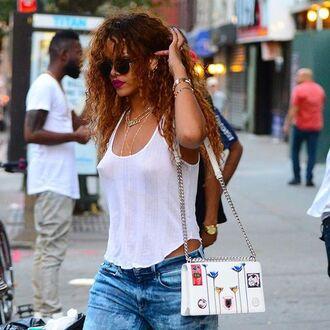 bag diorama bag dior dior bag white bag printed bag top white tank top tank top white top rihanna celebrity style celebrity curly hair sunglasses