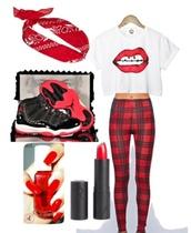 bandana,lipstick,nail art,red,jordans,swag,shoes,hair accessory,pants,t-shirt,lips,crop tops,leggings,nail polish
