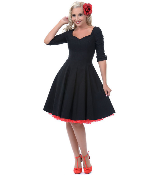 Dress 50s Style 50s Dress Pin Up Long Dress Black